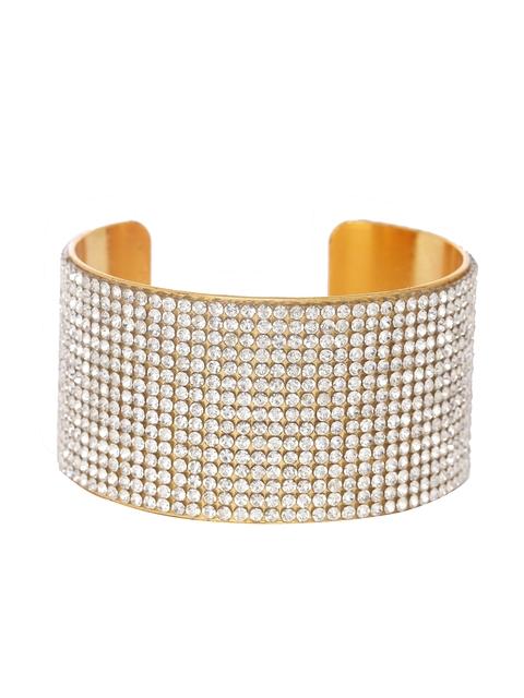 Shining Diva Gold-Toned Metal Cuff Bracelet