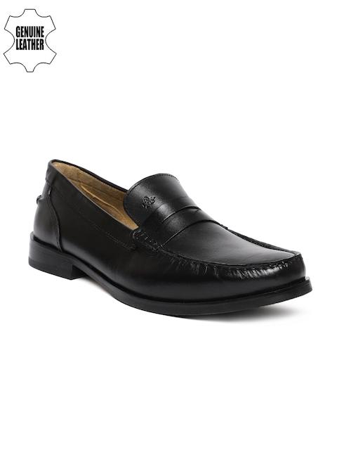 Arrow Men Black Harrington Genuine Leather Formal Loafers