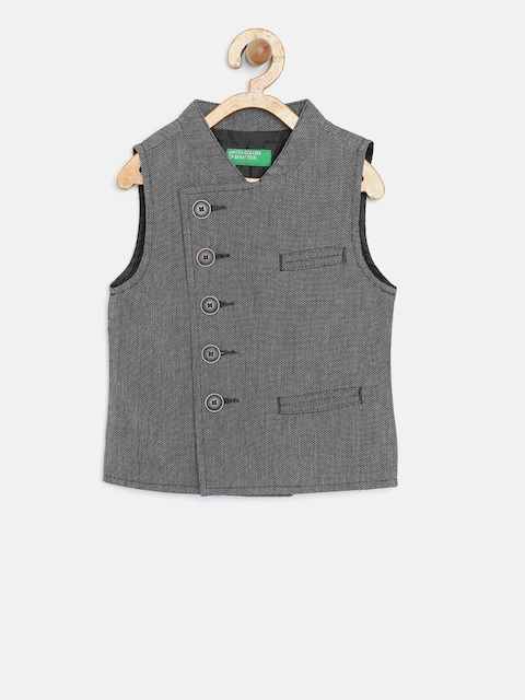 United Colors of Benetton Boys Grey Self-Design Waistcoat