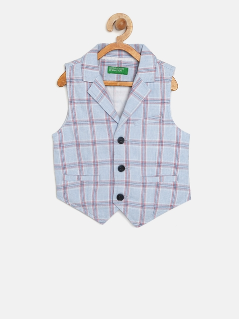 United Colors of Benetton Boys Blue Checked Waistcoat
