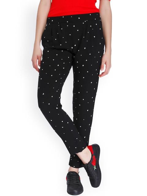 ONLY Women Black Printed Regular Trousers