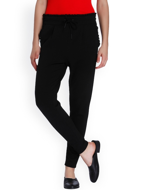 ONLY Women Black Slim Fit Solid Regular Trousers