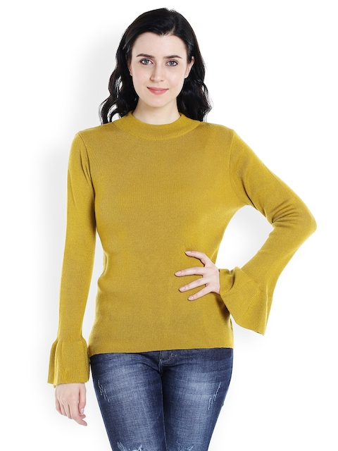 109F Women Mustard Self Design Pullover