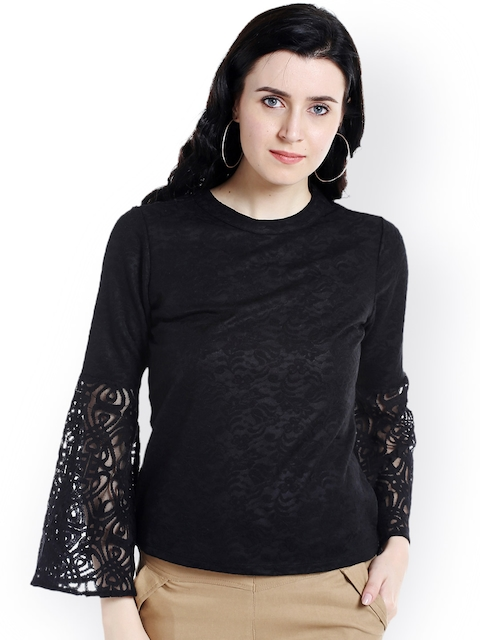 109F Women Black Self Design Top