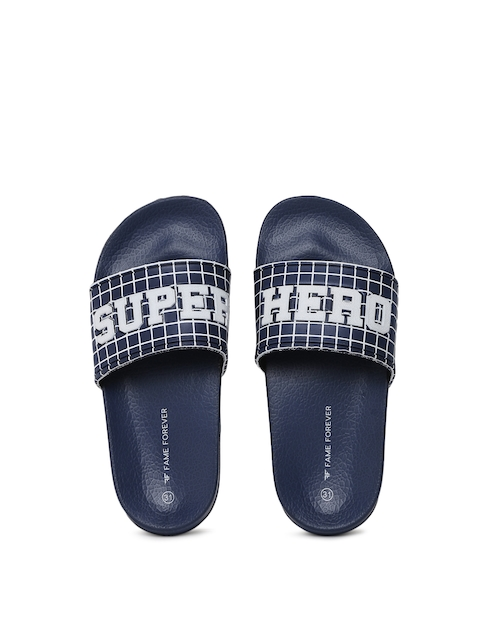 Fame Forever by Lifestyle Boys Navy Blue Printed Flip-Flops