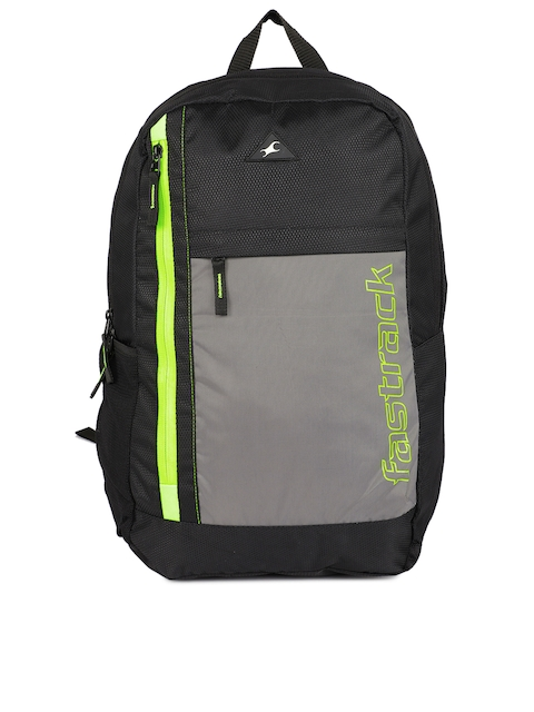 Fastrack Men Black & Fluorescent Green Backpack