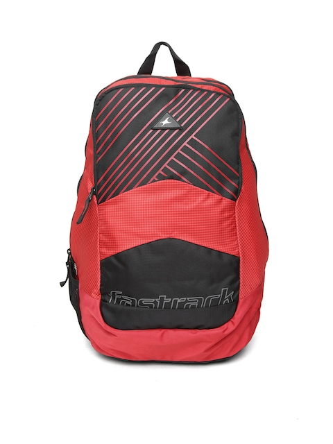 Fastrack Men Red & Black Printed Backpack