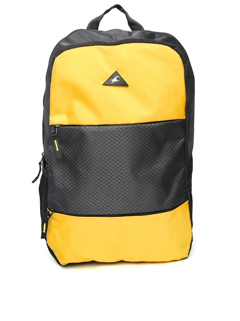 Fastrack Men Yellow & Black Colourblocked Backpack