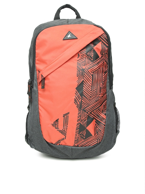 Fastrack Men Orange & Charcoal Grey Graphic Print Backpack