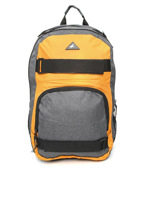 Fastrack Men Yellow & Grey Solid Backpack