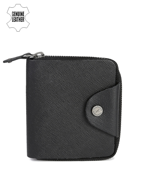 Fastrack Men Black Solid Zip Around Wallet