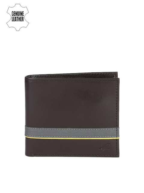 Fastrack Men Brown & Grey Solid Two Fold Genuine Leather Wallet