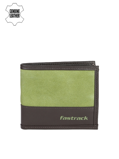 Fastrack Men Green & Brown Colourblocked Two Fold Wallet