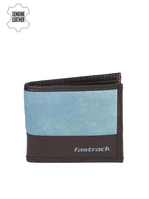 Fastrack Men Blue & Grey Colourblocked Genuine Leather Wallet