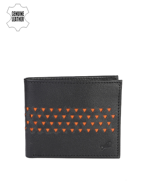 Fastrack Men Black & Orange Genuine Leather Wallet