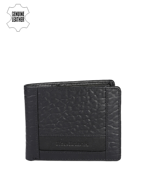 Fastrack Men Black Textured Genuine Leather Wallet