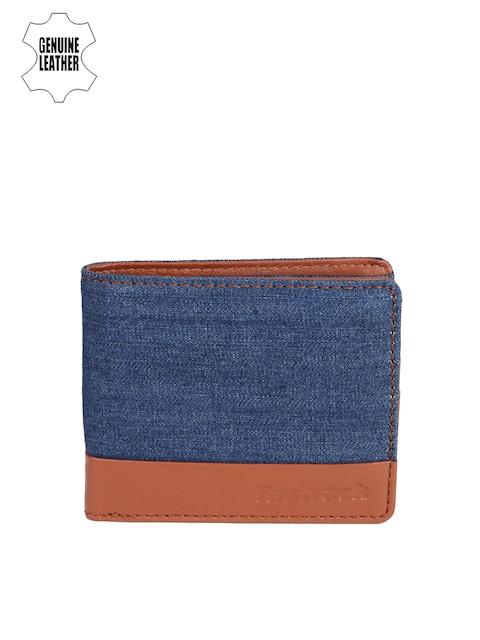 Fastrack Men Blue & Tan Colourblocked Two Fold Wallet