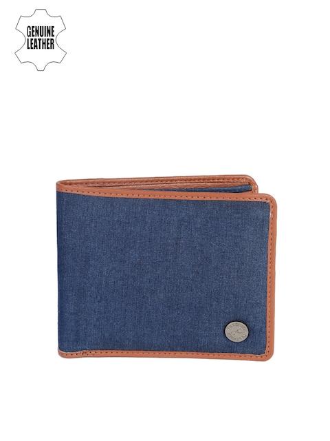 Fastrack Men Blue & Brown Genuine Leather Wallet