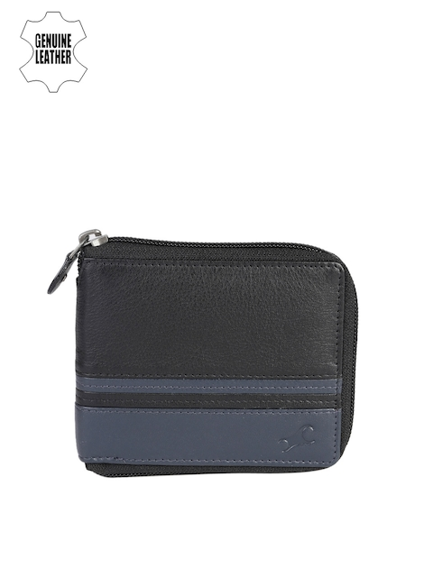 Fastrack Men Black & Blue Striped Genuine Leather Wallet