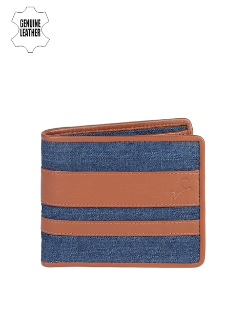Fastrack Men Blue & Tan Striped Two Fold Wallet