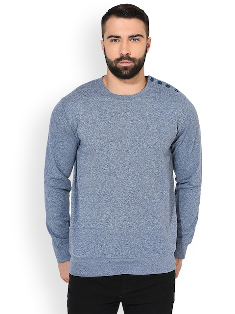 GRITSTONES Men Blue Solid Sweatshirt