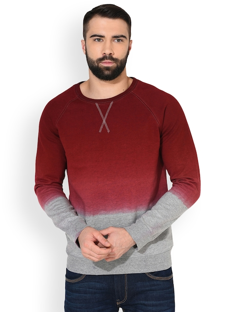 GRITSTONES Men Maroon & Grey Melange Solid Sweatshirt