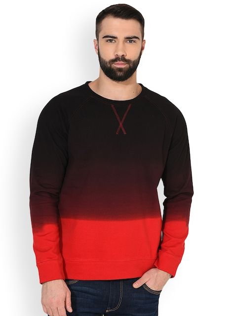 GRITSTONES Men Red & Black Solid Sweatshirt