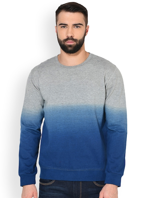 GRITSTONES Men Grey Melange & Blue Solid Sweatshirt