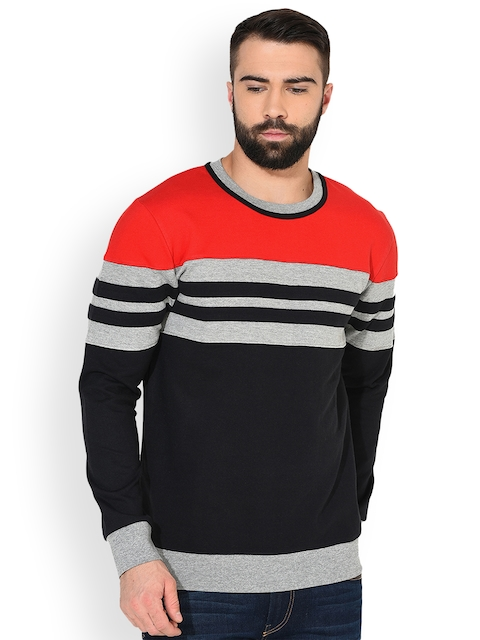 GRITSTONES Men Red & Grey Melange Striped Sweatshirt