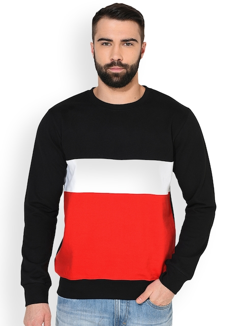 GRITSTONES Men Black & Red Colourblocked Sweatshirt