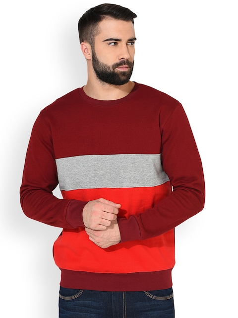 GRITSTONES Men Maroon & Grey Melange Colourblocked Sweatshirt