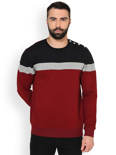 GRITSTONES Men Maroon & Black Colourblocked Sweatshirt