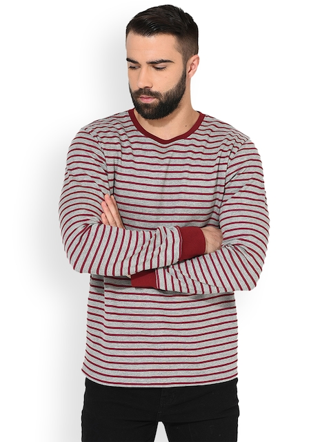 GRITSTONES Men Grey Melange & Maroon Striped Sweatshirt