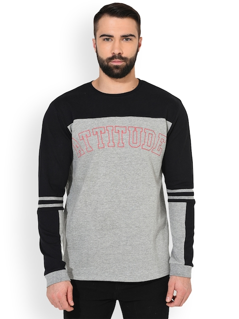 GRITSTONES Men Grey Melange & Black Colourblocked Sweatshirt