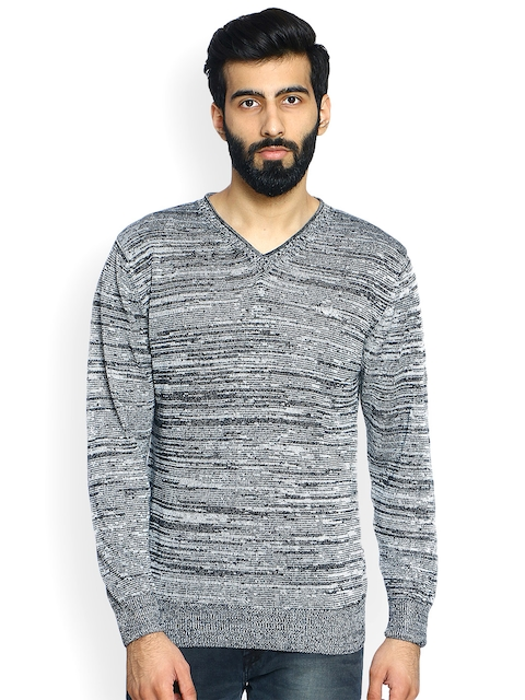 Duke Men Black & Grey Self Design Pullover