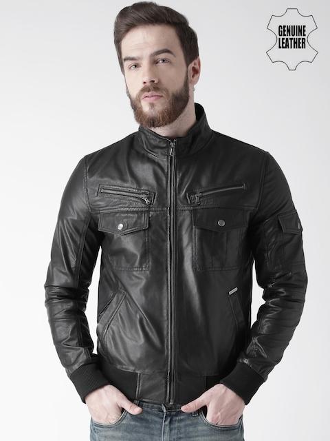 BARESKIN Men Black Solid Leather Jacket