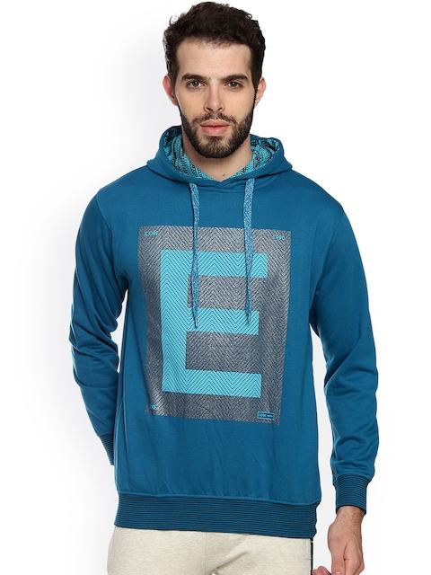 Duke Men Blue Printed Hooded Sweatshirt