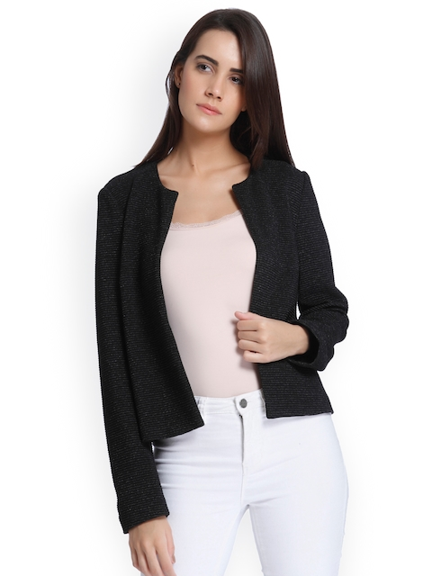 Vero Moda Women Black Solid Open Front Jacket