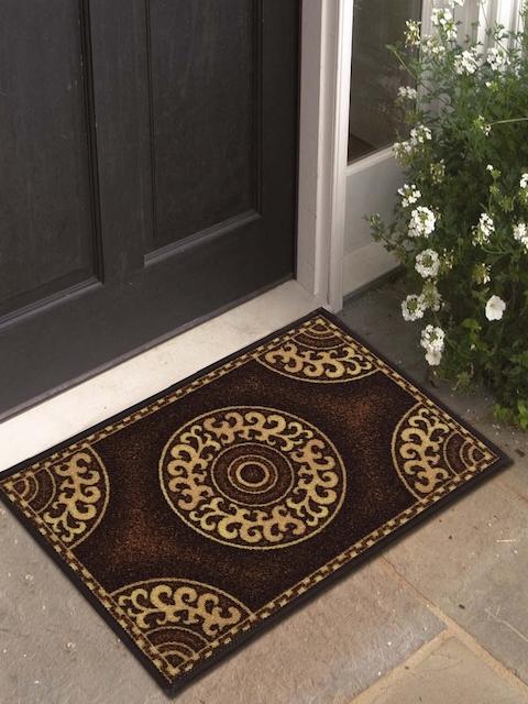 Athom Trendz Set of 3 Brown Rectangular Anti-Skid Doormat