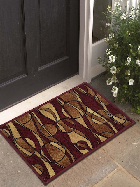 Athom Trendz Set of 3 Brown & Beige Printed Rectangular Anti-Skid Doormat