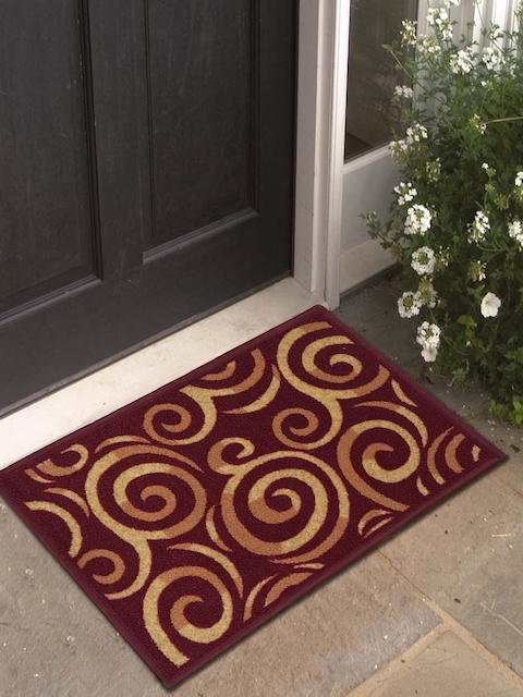 Athom Trendz Set of 3 Beige & Maroon Printed Rectangular Anti-Skid Doormat