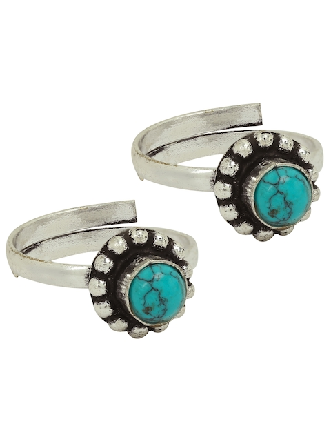 FIROZA Set of 2 Oxidised Silver-Toned & Turquoise Blue Circular Toe Rings