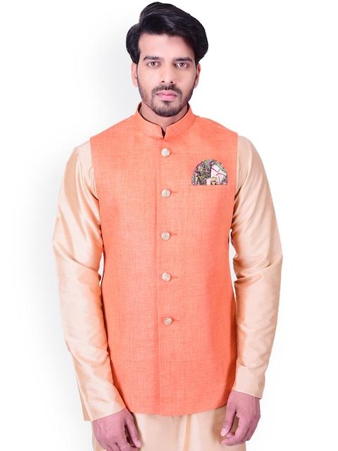 Manyavar Orange Nehru Jacket