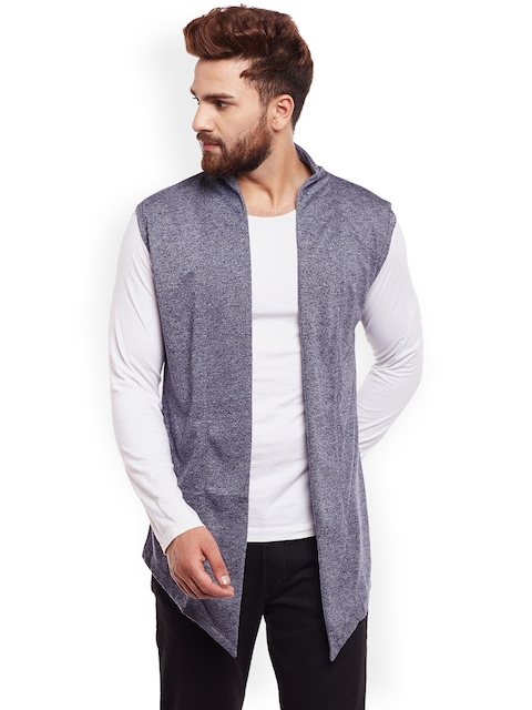 CHILL WINSTON Blue Solid Open Front Shrug