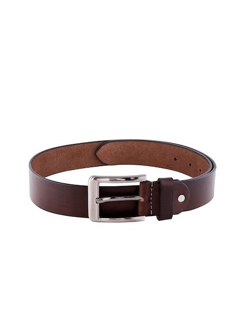 ZIDO Men Brown Solid Leather Belt