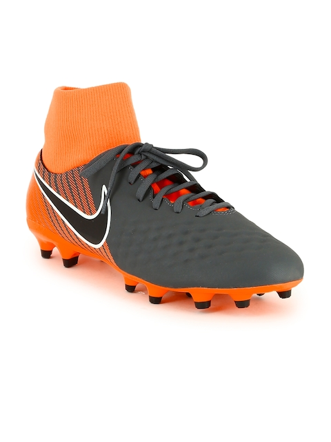 Nike Men Grey & Orange OBRA 2 ACADEMY Mid-Top Football Shoes