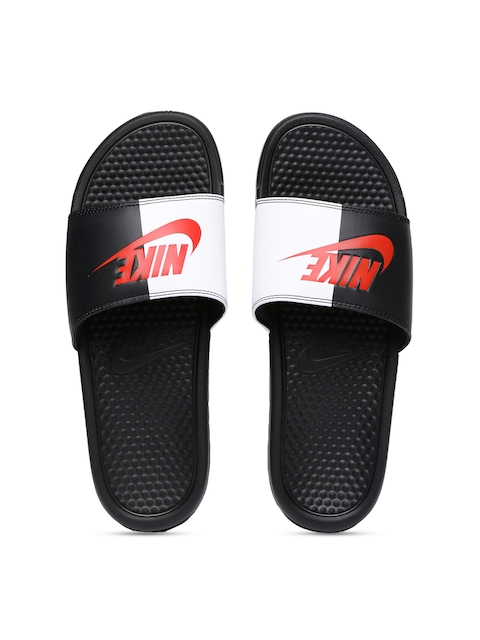Nike Men Black & White Colourblocked BENASSI JDI Slip-On Flip Flops