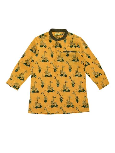 Tiber Taber Boys Mustard & Green Regular Fit Printed Casual Shirt