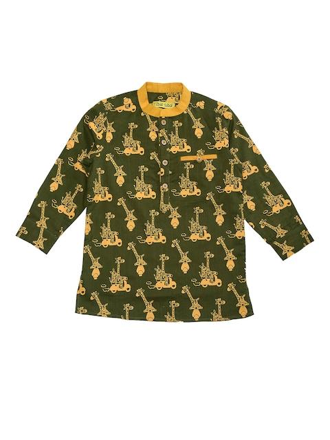 Tiber Taber Boys Olive Green & Mustard Regular Fit Printed Casual Shirt