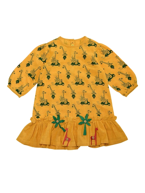 Tiber Taber Girls Mustard Printed Drop-Waist Dress